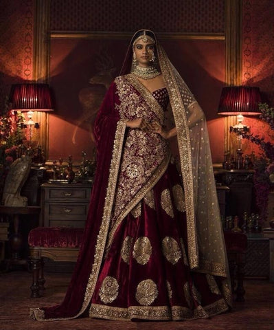 Maroon Color Bridal Lehenga Choli