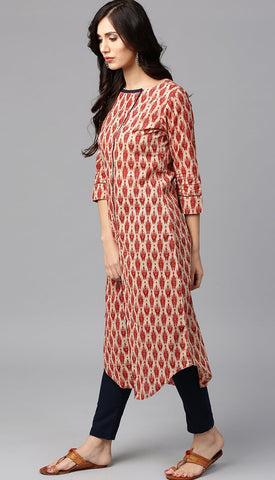 Printed Red Color Kurta With Blue Pants in Cotton