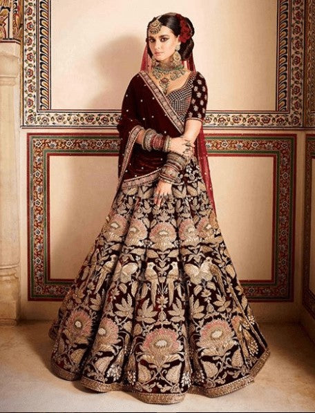Burgundy Color Bridal Lehenga Choli