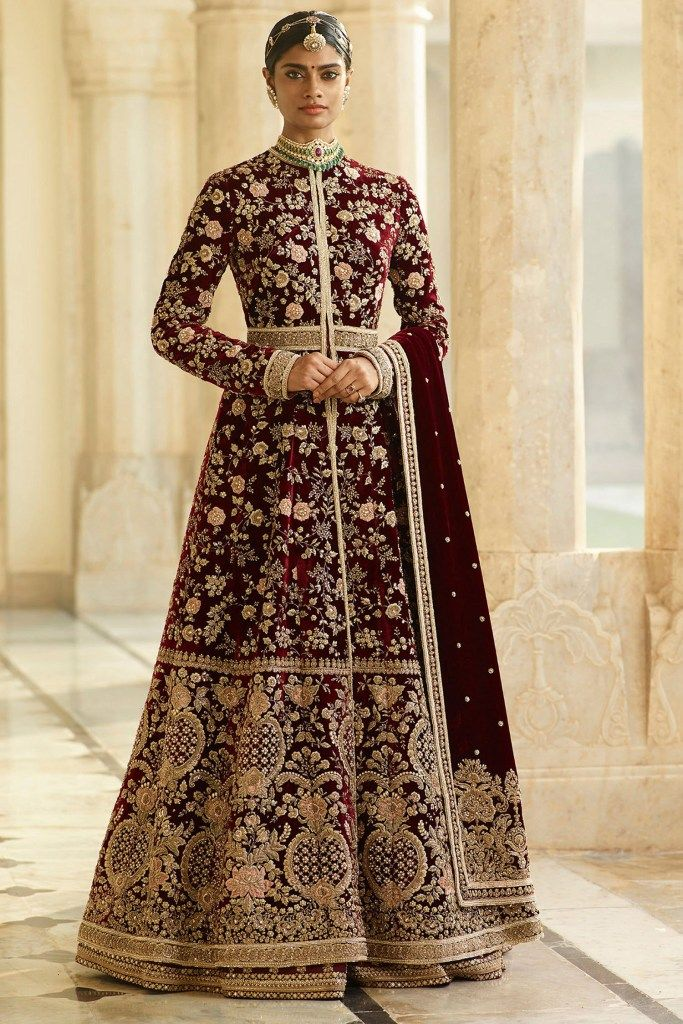 Burgundy Color Wedding Jacket Lehenga Set