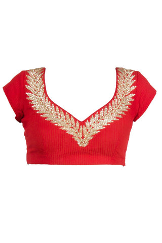 Red colour blouse in gorgette fabric
