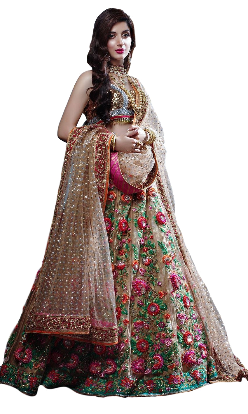 Champagne Color Wedding Lehenga with Floral Embroidery by Panache Haute Couture