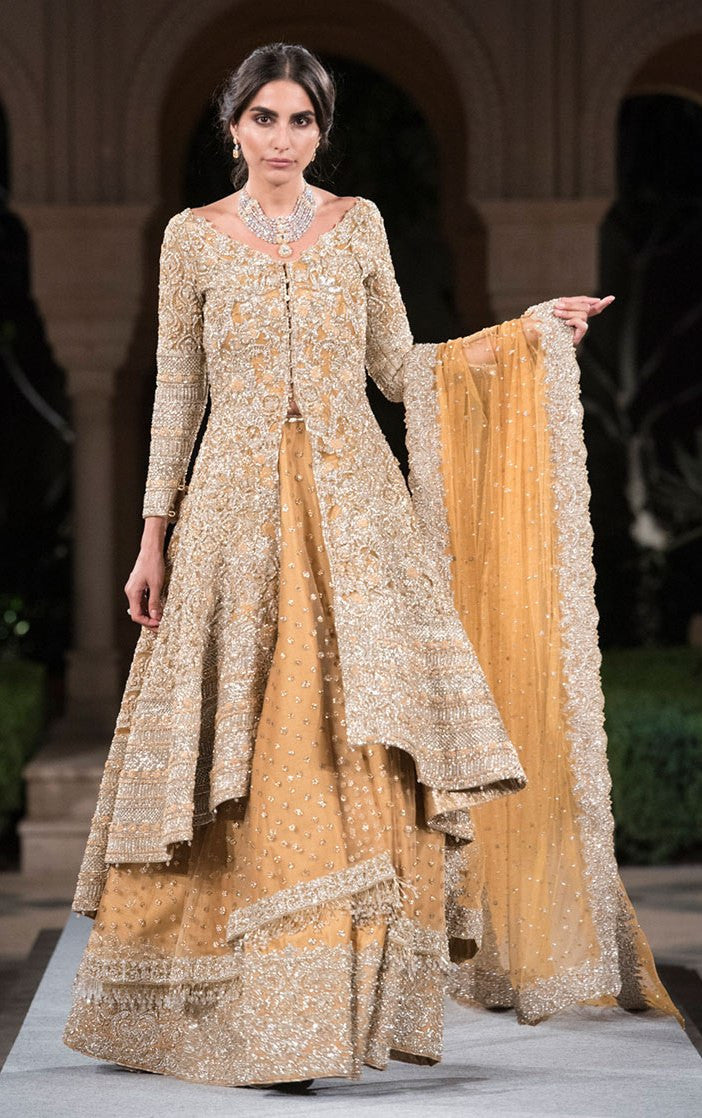 Beige Color Designer Jacket Lehenga