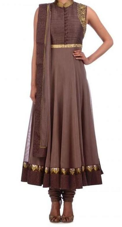 Chocolate color long anarkali suit