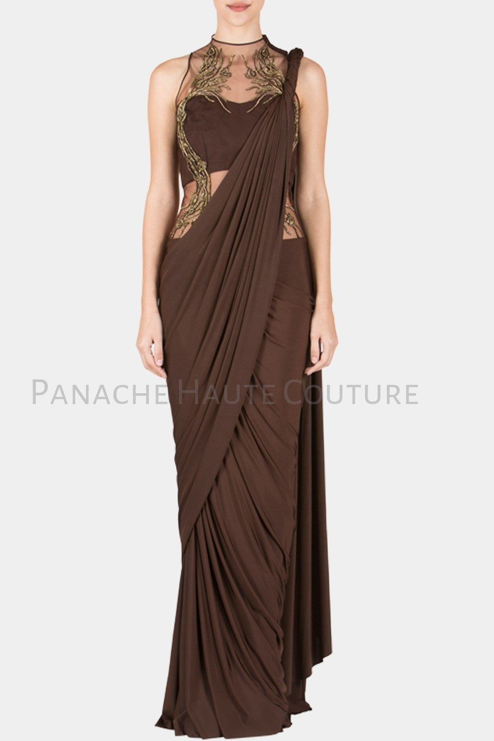 Chocolate Brown Color Designer Saree Gown – Panache Haute Couture