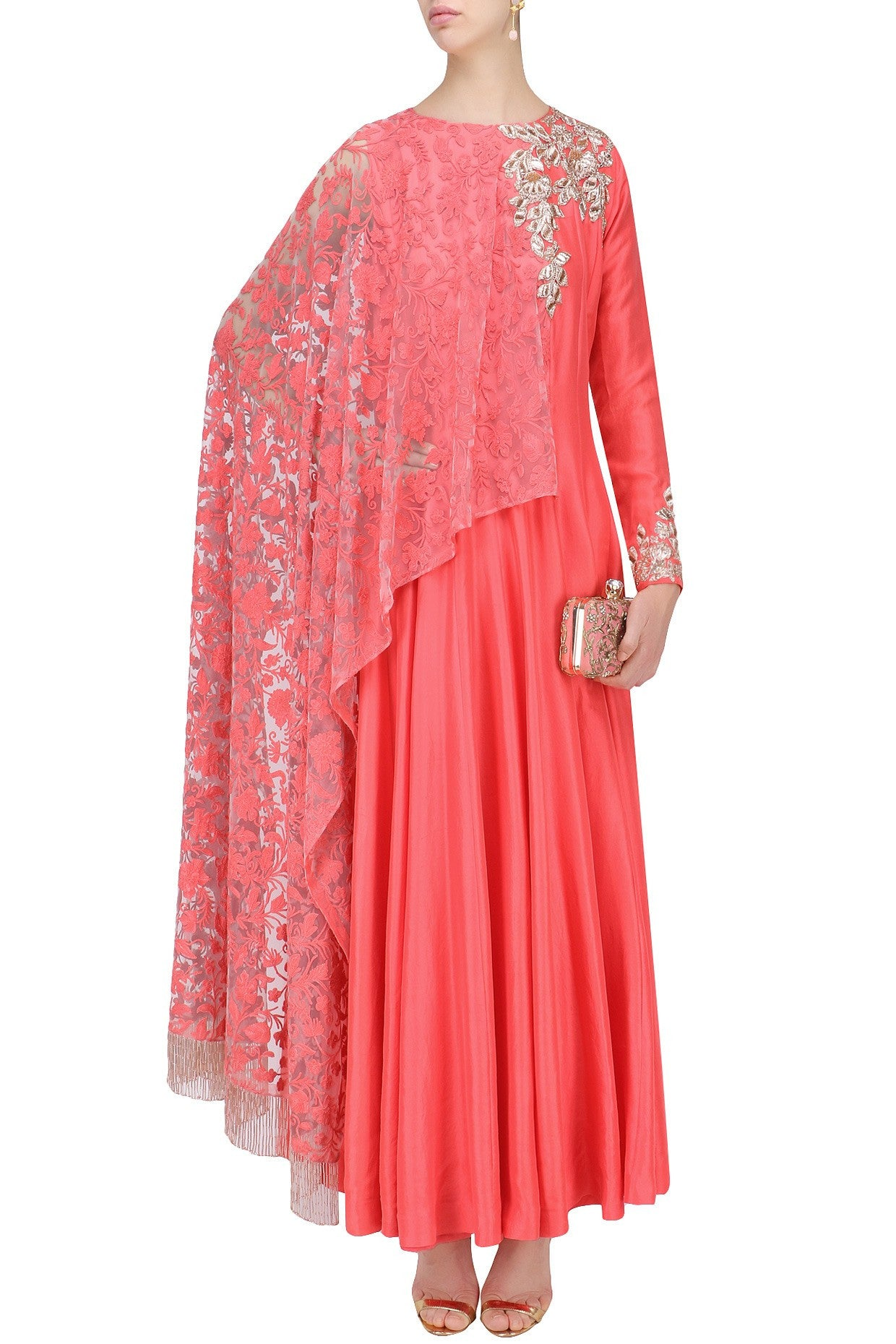 Coral Color Anarkali Kurta Set by Panache Haute Couture