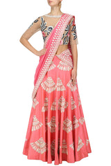 Coral Color Lehenga Choli with Nude Blouse
