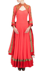 Coral color anarkali suit