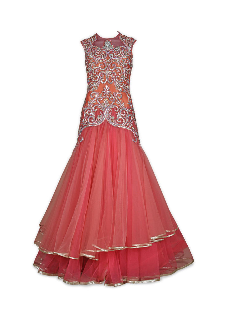 Pink and Peach Indo Western Gown