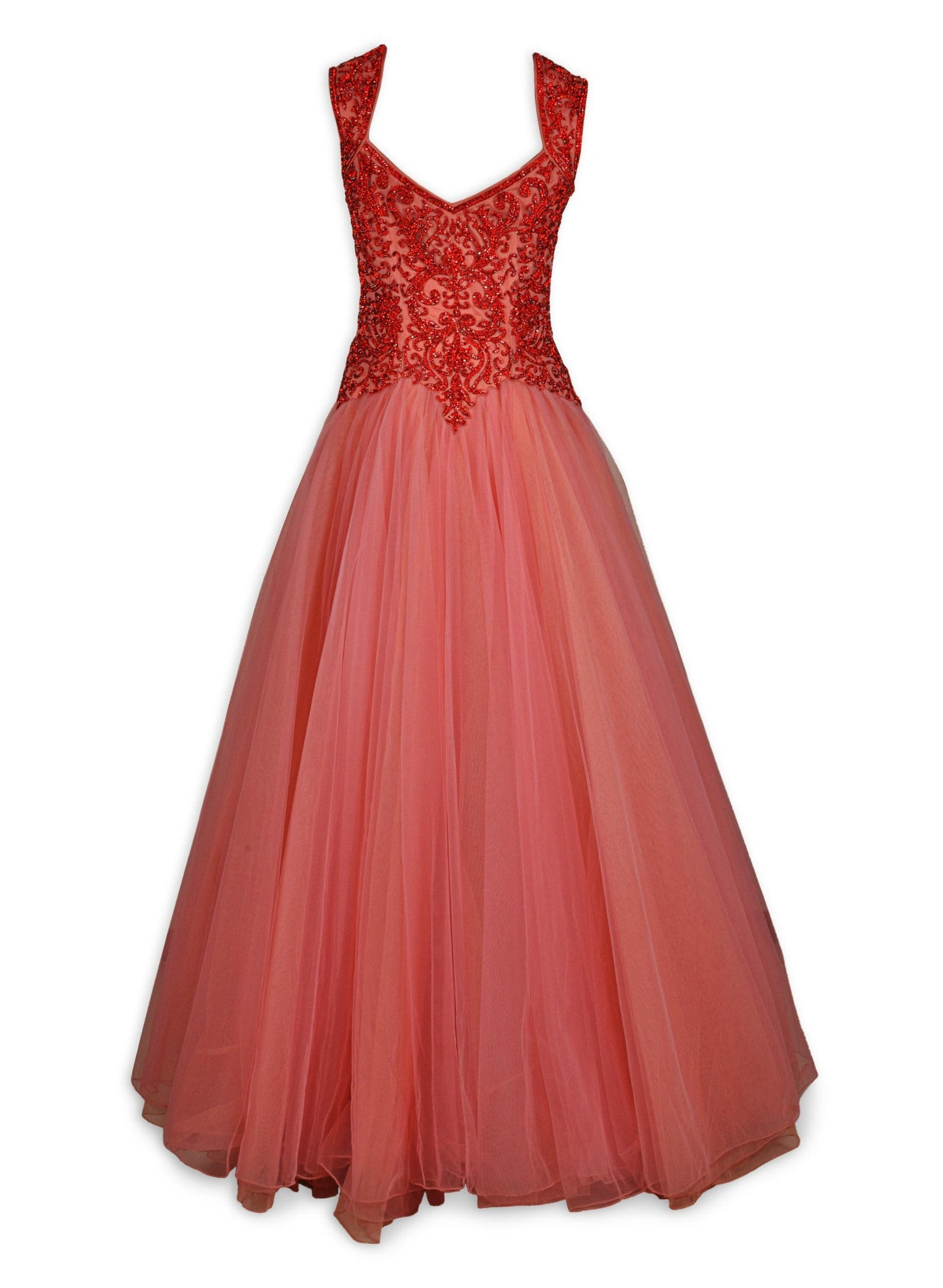Coral color Indo Western Gown