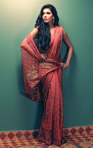Coral Color Wedding Saree