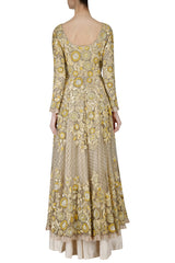 Cream Color Jacket Lehenga Set