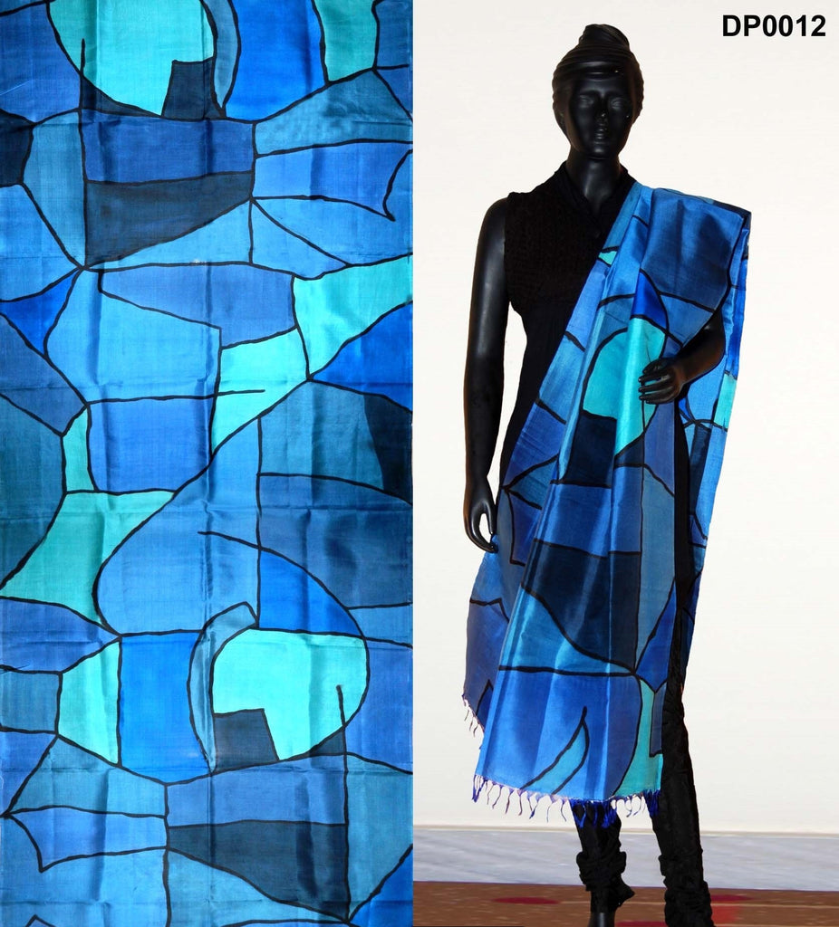 Blue color hand-painted dupatta