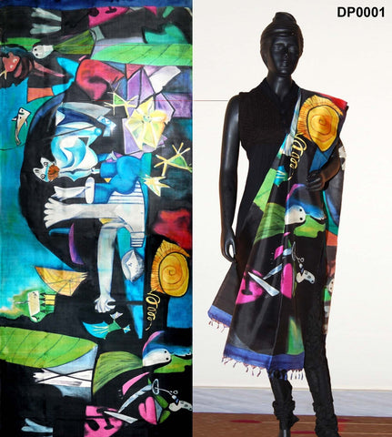 Black color Hand-Painted Silk Dupatta