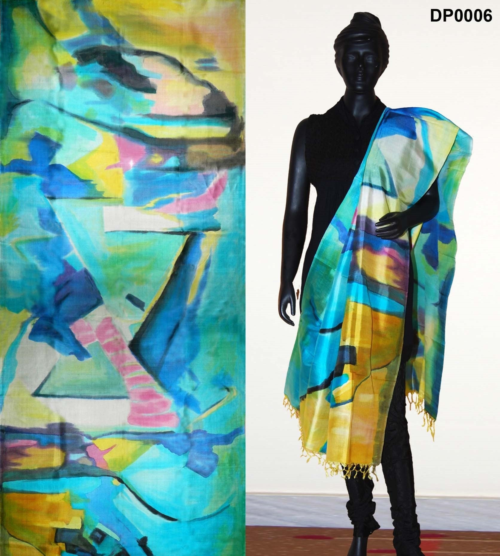 Sky blue color silk dupatta