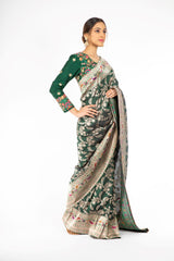 Dark Green Color Handloom Saree with Paithani Border