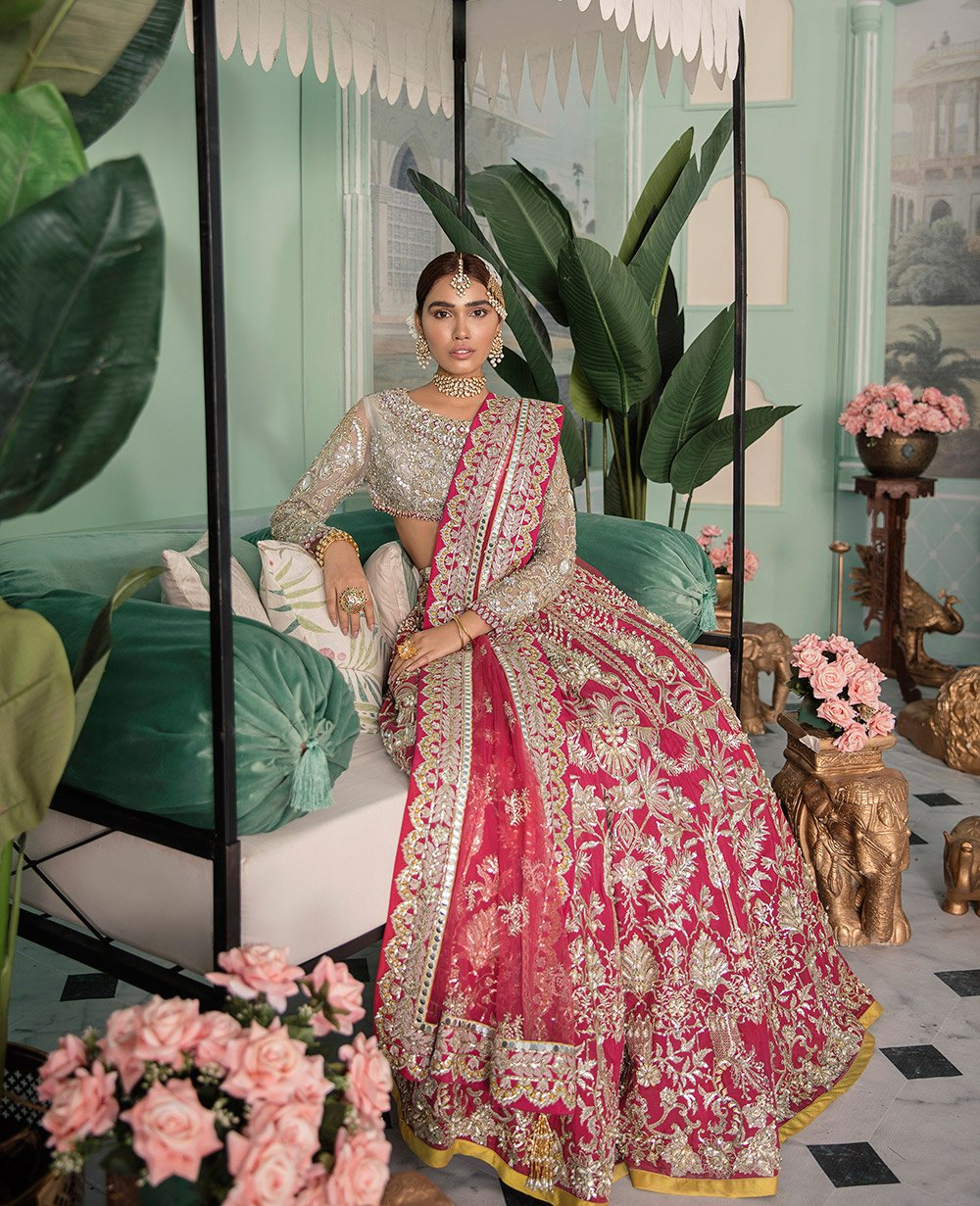Dark Rose Pink Color Wedding Lehenga