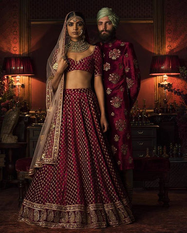 Dark Maroon Color Wedding Lehenga Choli