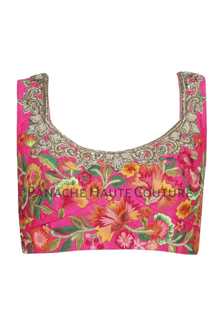 Dark Pink Color Blouse with Multicolor Thread Embroidery