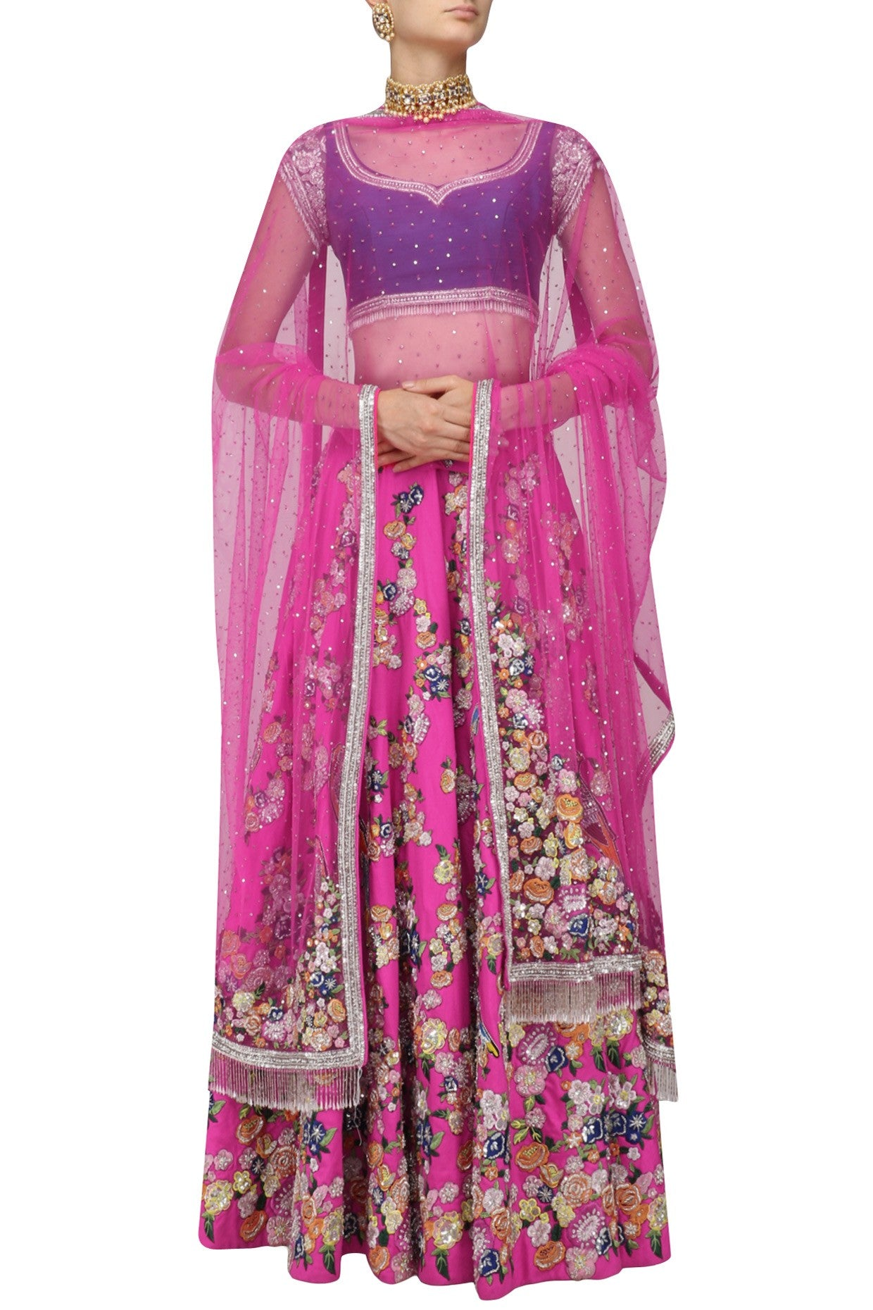 Dark Pink Color Lehenga With Blue Blouse