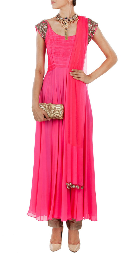Dark pink color anarkali