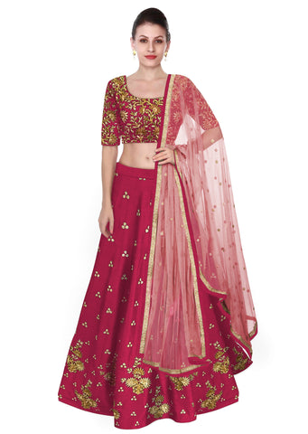 Dark Pink Color Lehenga Choli with Light Pink Dupatta