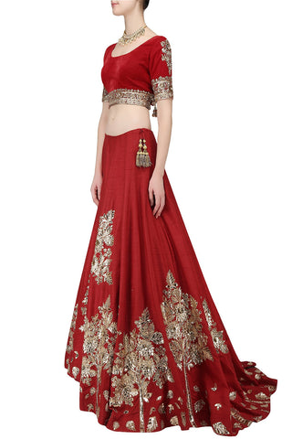 Deep Red Wedding Lehgna Choli