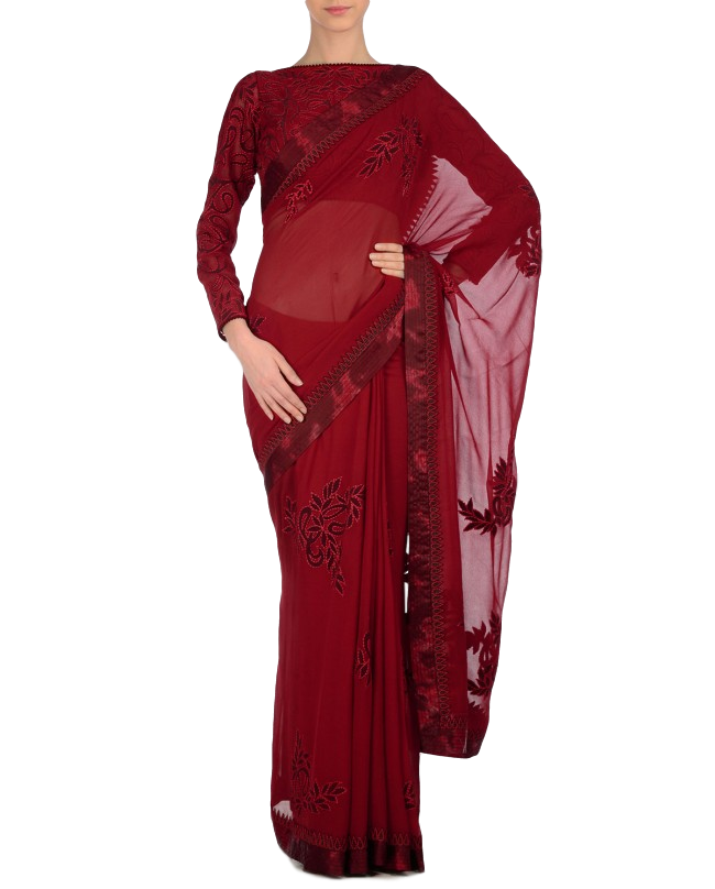 Dark Red designer saree with maroon applique work