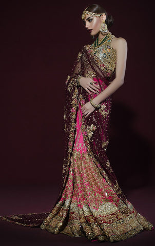 Dark Wine Pink Bridal Lehenga Saree