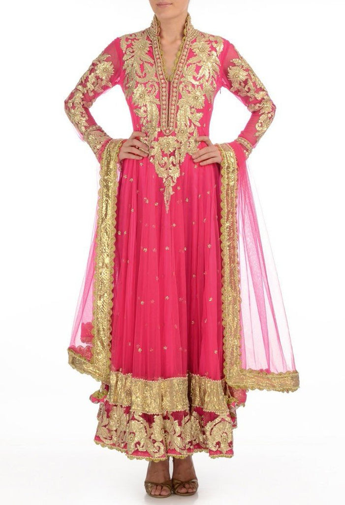 Dark pink color long anarkali salwar kameez