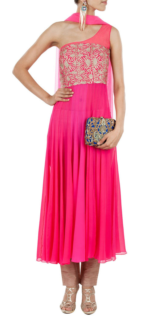 Dark pink one shoulder anarkali