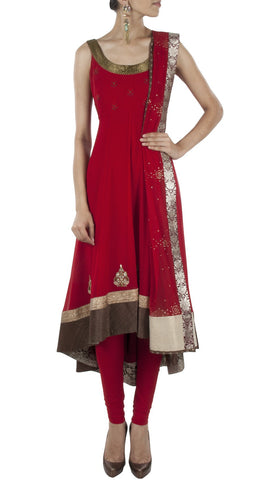 Dark red color anarkali suit