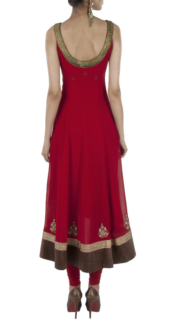 Dark Red Color Anarkali Suit Panache Haute Couture