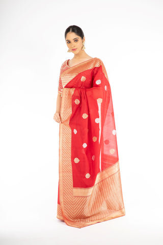 Dazzling Red Color Kora Silk Handloom Banarasi Saree with Sona Rupa Zari from Panache Haute Couture