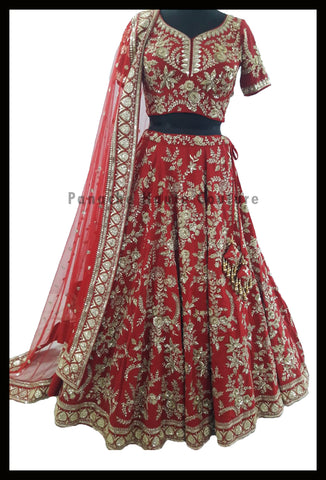 Deep Red Color Bridal Lehenga Choli