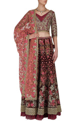 Deep Maroon Color Thread Work Wedding Lehenga