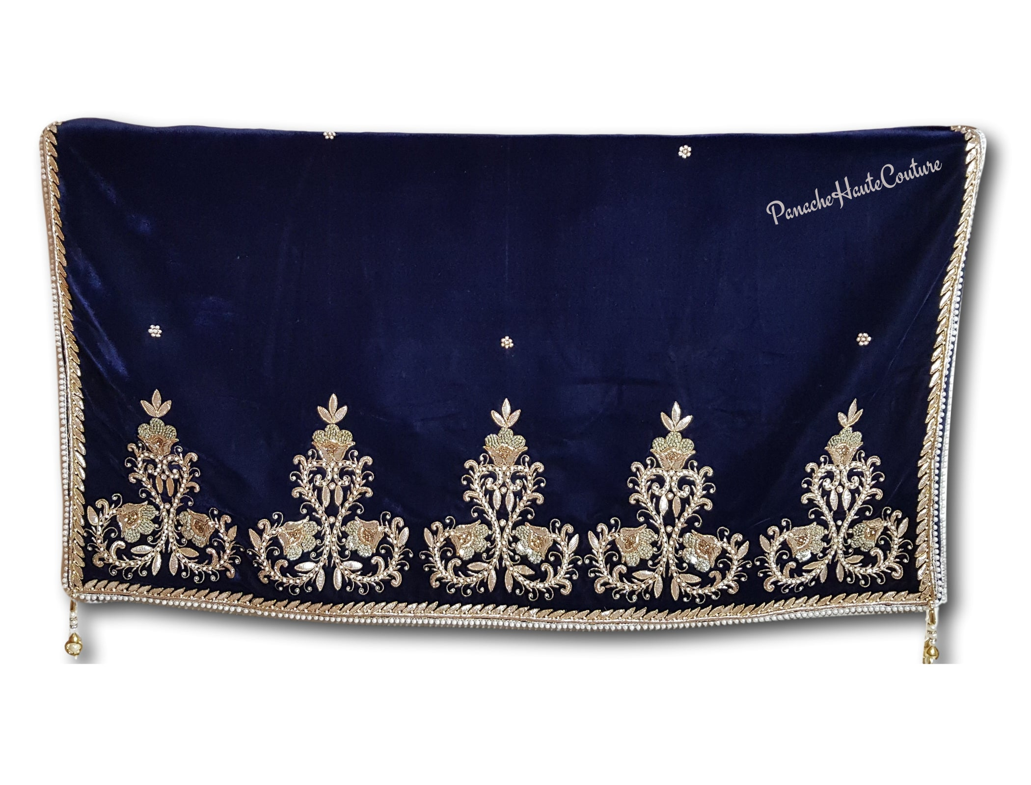Deep Navy colour velvet shawl / Dupatta