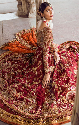Deep Red Wedding Walima Dress