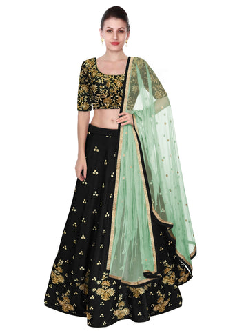 Deep Green Color Lehenga Choli with Light Green Dupatta