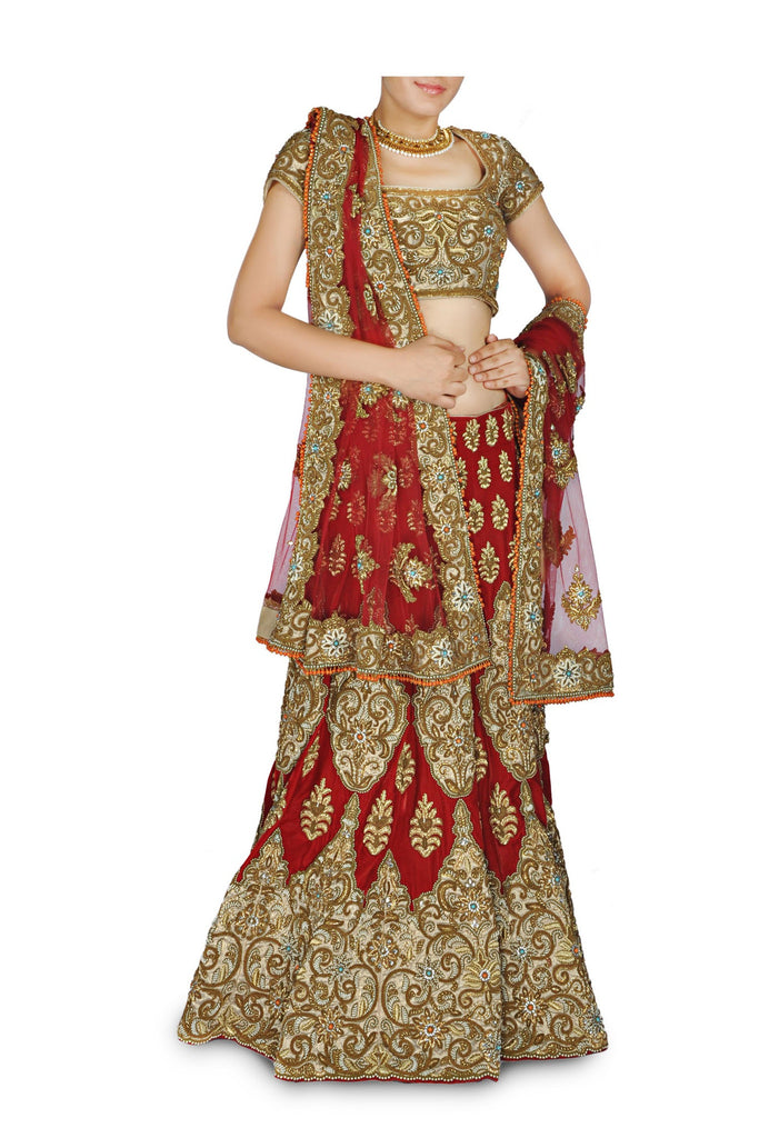 Deep red color Bridal lehenga / chaniya  choli