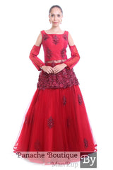 Deep Red Colour Lehenga Set