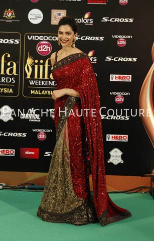 Deepika Padukon in Red Color Designer Saree