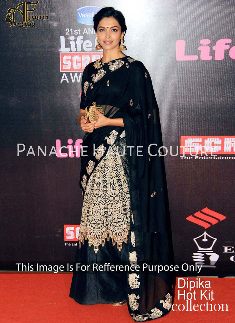 Deepika Padukon in Black Color Designer Lehenga Saree