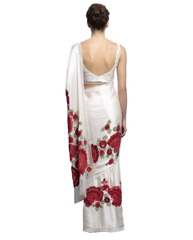 Designer saree in ivory color with floral embroidery by panache haute couture