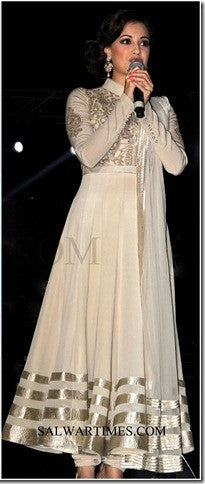 Dia Mirza in White anarkali