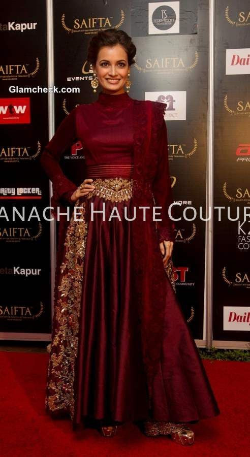 Dia Mirza in Wine Color Indo Western Gown by Panache Haute Couture