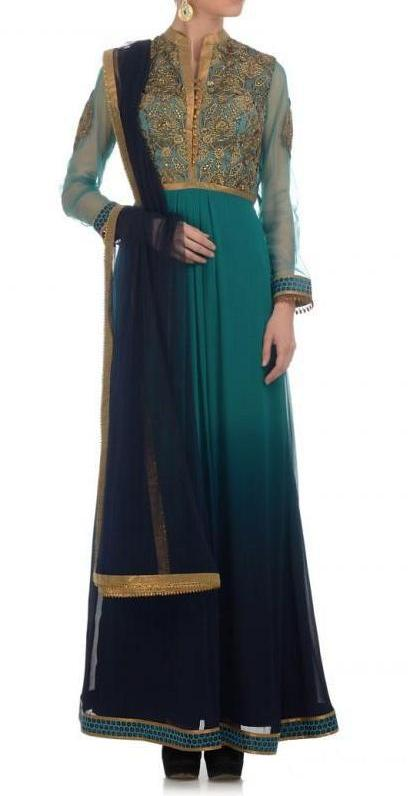 Blue shaded long anarkali suit