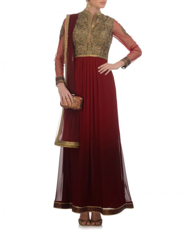 Maroon shaded long anarkali suit