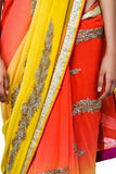 orange yellow designer saree