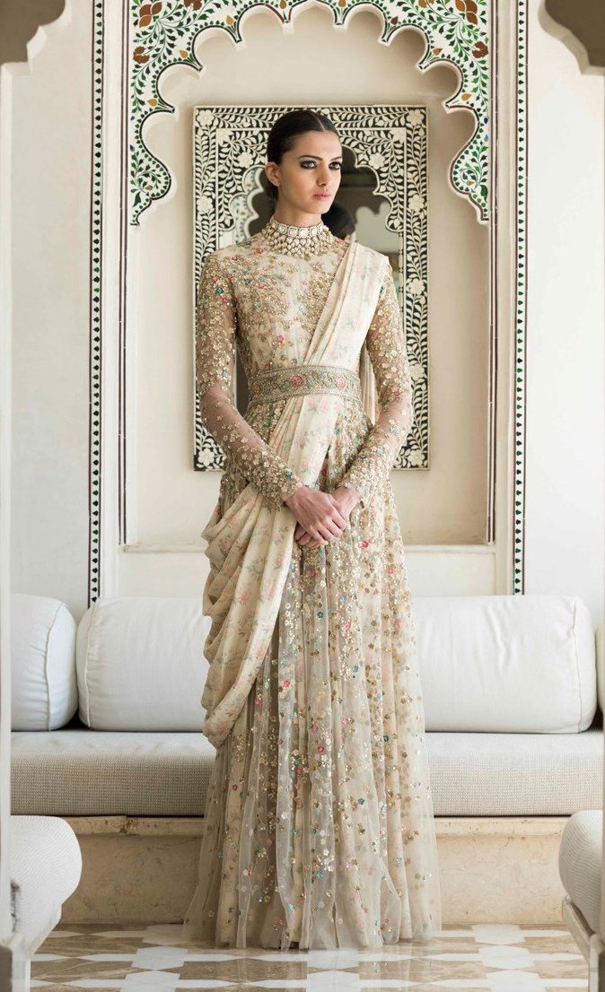 Draped Anarkali Gown In Ivory Color
